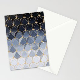 Blue gold hexagonal pattern Stationery Cards
