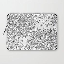 Hand painted black white floral mandala Laptop Sleeve