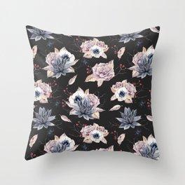 Halloween Spider Succulent Floral Pattern on a Dark Background Throw Pillow