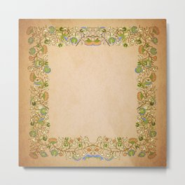 Vintage Gold Lilies Square Format Metal Print