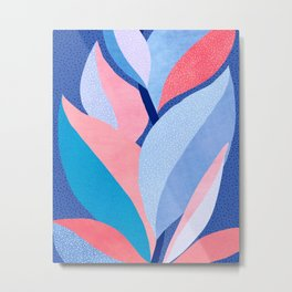 Fire and Ice II / Abstract Tropical Garden in Pink and Blue Metal Print