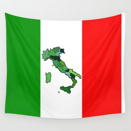 Map of Italy and Italian Flag Wall Tapestry