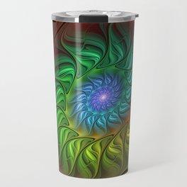 Colorful Spiral Fractal Travel Mug
