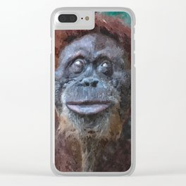Digital illustration of an orangutan Clear iPhone Case