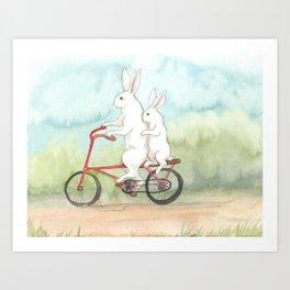 Bunnies on a Bicycle Art Print