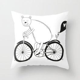 Big bear on bike Throw Pillow