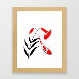 Japanese Koi Kohaku Lily Framed Art Print