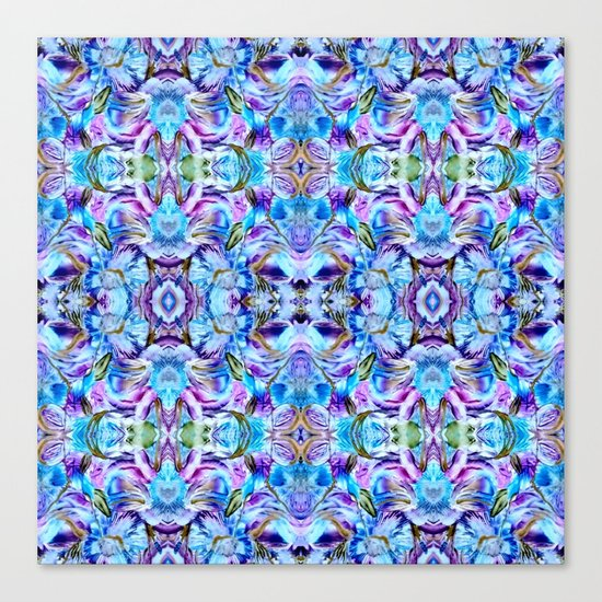 Turquoise Blue Flower Girly  Pattern Canvas Print