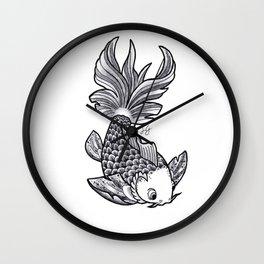 Fish handmade Drawing, Made in pencil, charcoal and ink, Tattoo Sketch, Tattoo Flash, Carp Koi Wall Clock