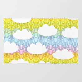 Kawaii white clouds and rainbow sky Rug