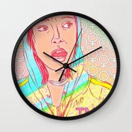 FEM NotShe - Feminist Digital Pride Drawing Pastel Rainbow Wall Clock