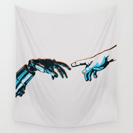 Creation of Man 2.0 Classic Michelangelo Robot Hand Art Print Wall Tapestry