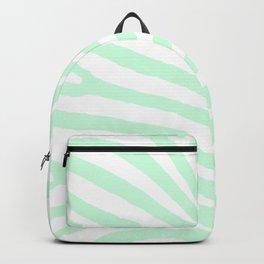 Light Mint Green and White Zebra Animal Stripes Backpack
