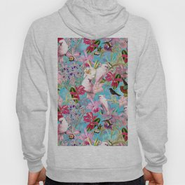 Vintage & Shabby Chic - Pink Tropical Birds and Orchid Flower Pattern Hoody