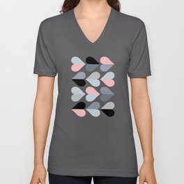 Love and Kisses in Pink and Grey Unisex V-Neck