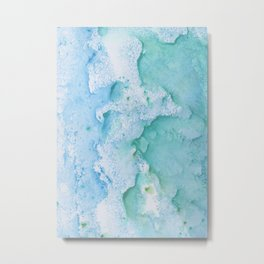 Touching Soft Turquoise Teal Blue Watercolor Abstract #1 #painting #decor #art #society6 Metal Print