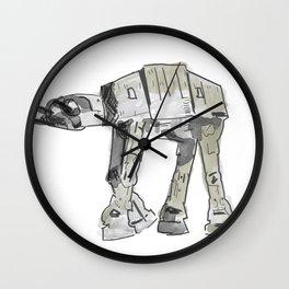 Empire Strikes Back AT AT Walker line watercolor artwork Wall Clock