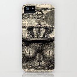 dictionary print steampunk gear halloween spooky black cat iPhone Case