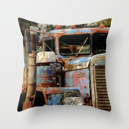 Old Truckers Never Die Throw Pillow