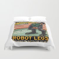 propaganda Duvet Covers featuring Franklin D. Roosevelt and his Amazing Robot Legs.... by Joshua Kemble