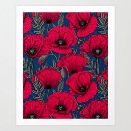 Night poppy garden  Art Print