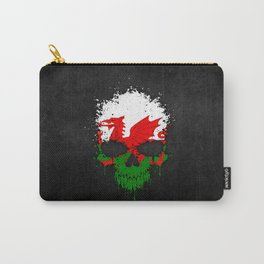 Flag of Wales on a Chaotic Splatter Skull Carry-All Pouch