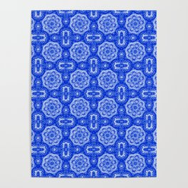 Sapphire Blue Doily Floral Poster