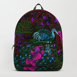 Asian Bamboo Garden in Black Velvet Watercolor Backpack
