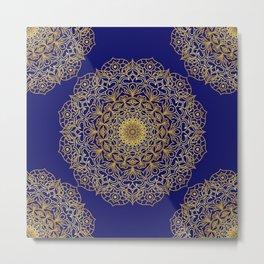 Gold mandala blue background Metal Print