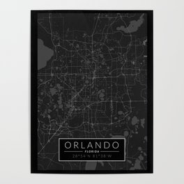 Orlando Map - Black and White (Dark) Poster
