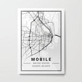 Mobile Light City Map Metal Print