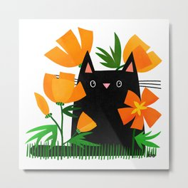 Poppy Black Cat Metal Print