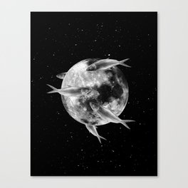 fish thank with floathing moon Canvas Print