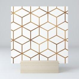 White and Gold - Geometric Cube Design Mini Art Print