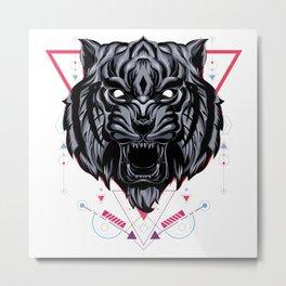The Wild tiger sacred geometry Metal Print