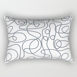 Doodle Line Art | Dark Blue-Gray Lines on White Background Rectangular Pillow