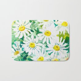 Chamomile Flowers, Herval design Field flowers wild flowers floral art Bath Mat
