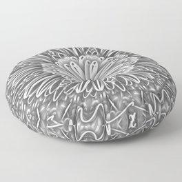 Flower Kaleidoscope Grays Floor Pillow