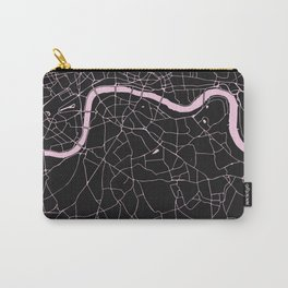 London Black on Pink Street Map Carry-All Pouch