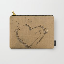 Heart drawn on the sand Carry-All Pouch