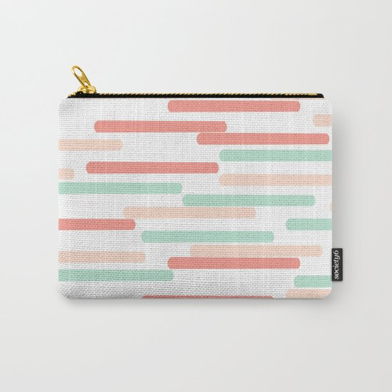 Mint Coral stripes minimal abstract basic home office dorm college trendy decor gifts Carry-All Pouch