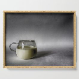 Still life with a cup of milk Serving Tray