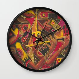 The Flutist. Painting from Cameroon, Africa Wall Clock