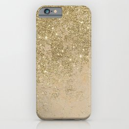 Girly trendy gold glitter ivory marble pattern iPhone Case
