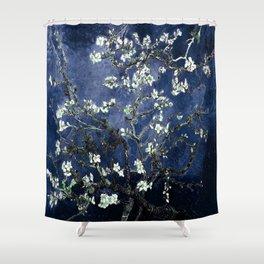 Vincent Van Gogh Almond Blossoms Dark Blue Shower Curtain