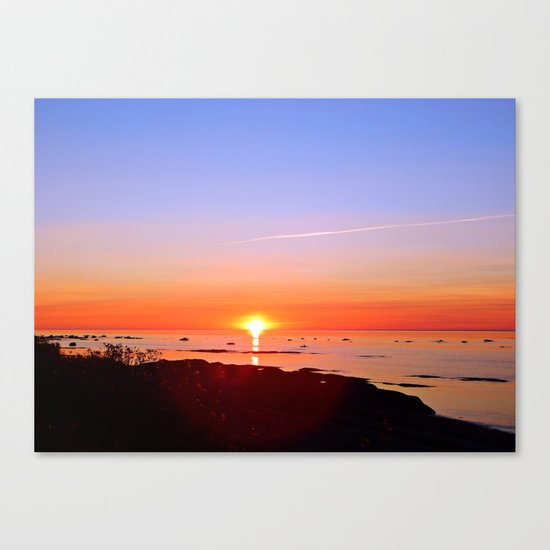 Kayak Silhouette at Sunset Canvas Print