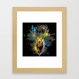 Deer PopArt Dripping Paint Framed Art Print