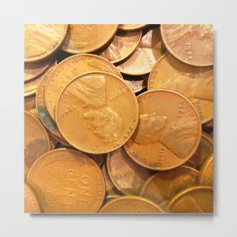 Watercolor Coins, Lincoln Wheat Pennies, 1944 01 Metal Print