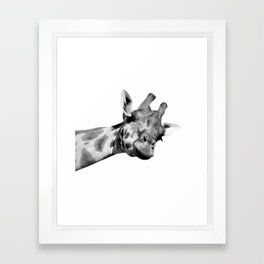 Black and white giraffe Framed Art Print