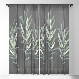 Eucalyptus Branches On Chalkboard Sheer Curtain